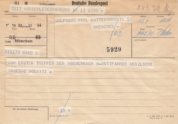 Telegram sent by Karl Dönitz